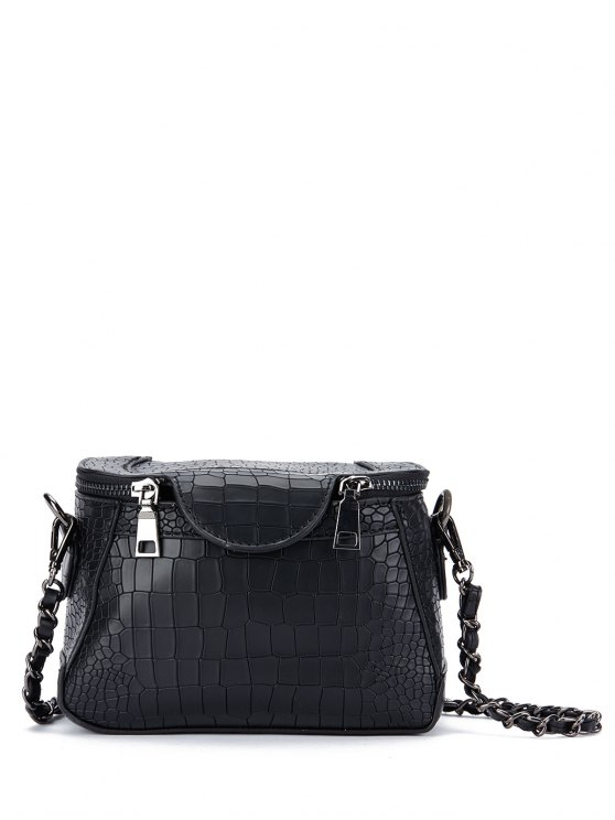 latest Chains Crocodile Pattern Cross Body Bag - BLACK