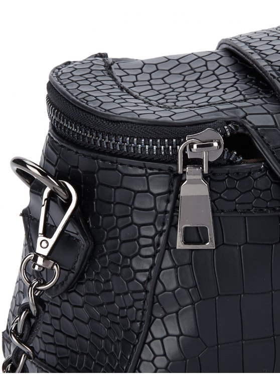 Chains Crocodile Pattern Cross Body Bag - BLACK  Mobile