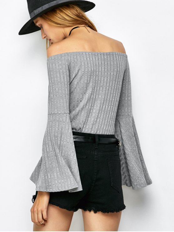 Off The Shoulder Flare Sleeve Bodysuit - GRAY XL Mobile
