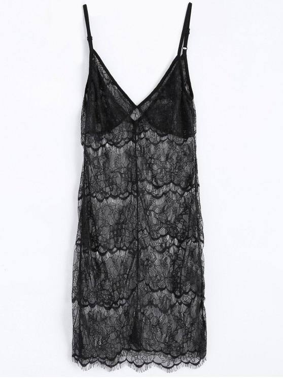 Sheer Lace Slip Babydoll Dress Lingeries - BLACK 2XL Mobile