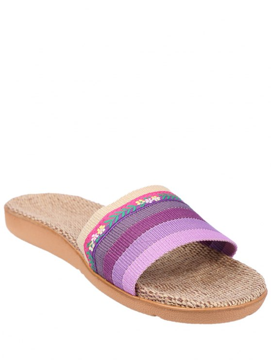 Flowers Ombre Striped House Slippers - PURPLE SIZE(37-38) Mobile