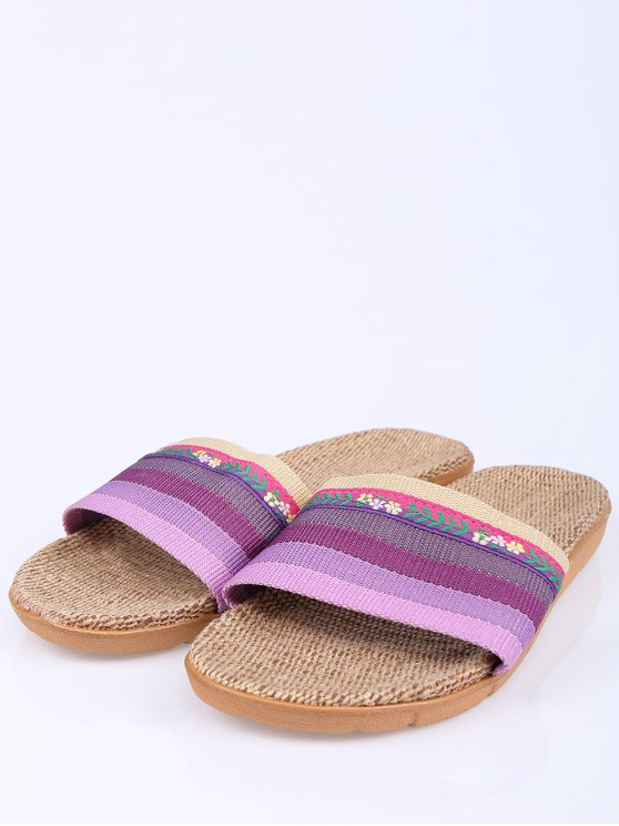 Flowers Ombre Striped House Slippers - PURPLE SIZE(39-40) Mobile