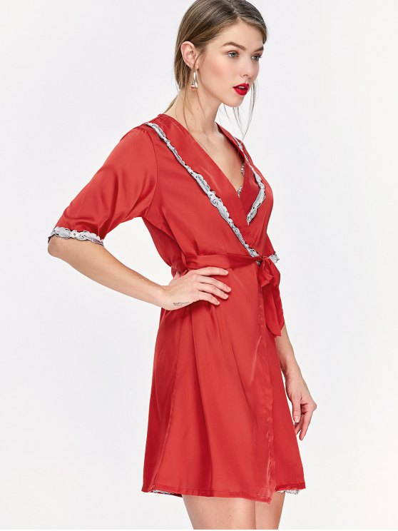 Lace Hem Nightdress and Sleep Robe with Belt - RED XL Mobile