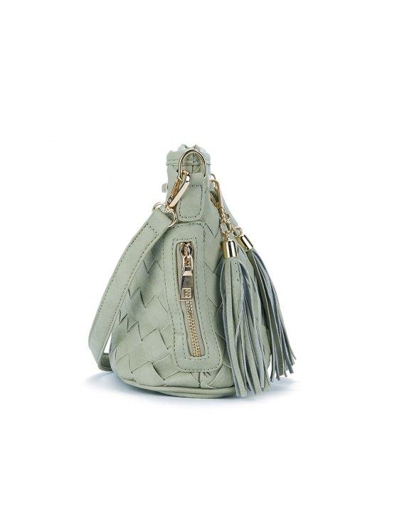 Woven Tassel Crossbody Bag - GREEN  Mobile
