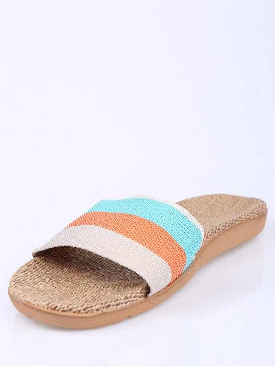 Striped Color Block Linen House Slippers - ORANGE SIZE(37-38) Mobile