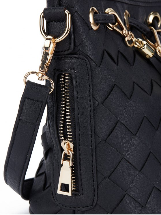Woven Tassel Crossbody Bag - BLACK  Mobile