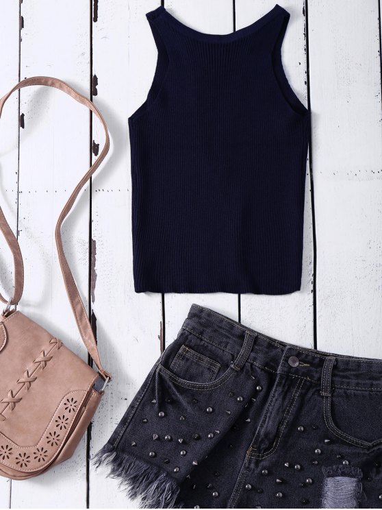 Cropped Lace Up Sweater Tank Top - PURPLISH BLUE ONE SIZE Mobile