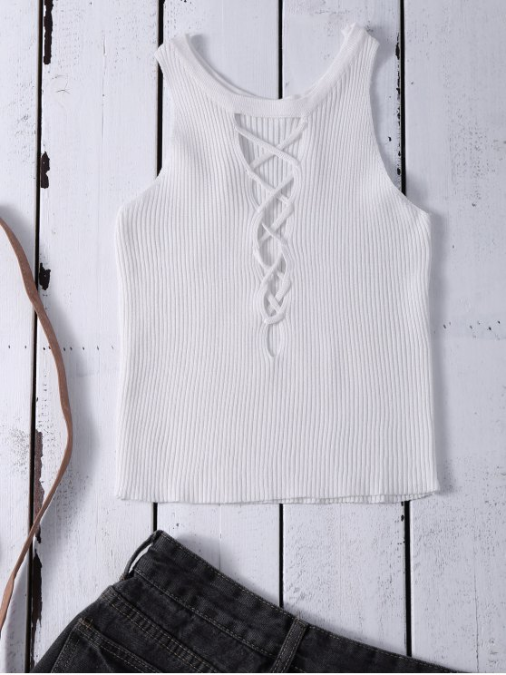 Cropped Lace Up Sweater Tank Top - WHITE ONE SIZE Mobile