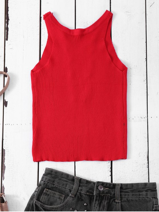 Cropped Lace Up Sweater Tank Top - RED ONE SIZE Mobile