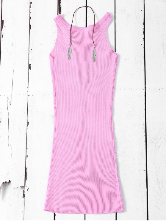 Sleeveless Ribbed Knit Bodycon Dress - PINK ONE SIZE Mobile