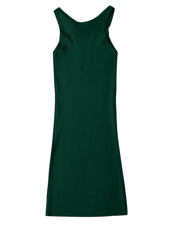 Sleeveless Ribbed Knit Bodycon Dress - GREEN ONE SIZE Mobile