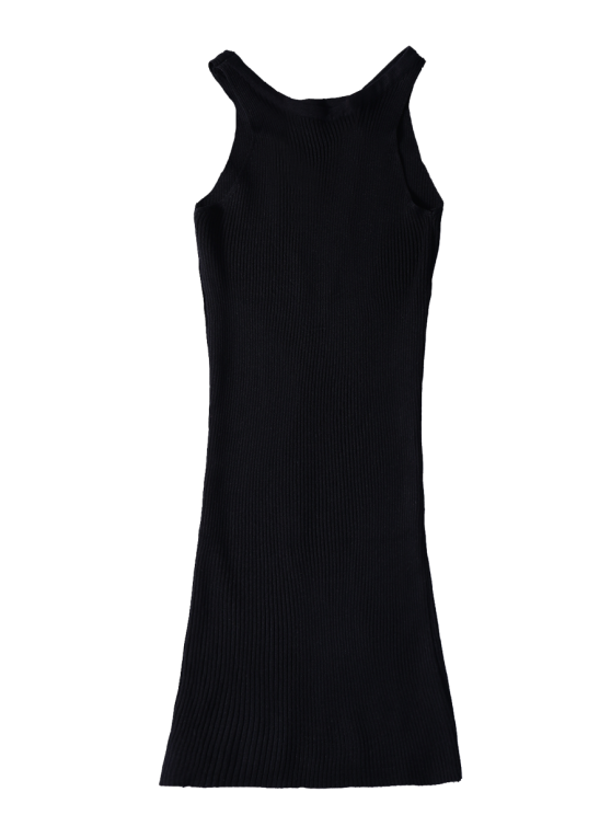 Sleeveless Ribbed Knit Bodycon Dress - BLACK ONE SIZE Mobile