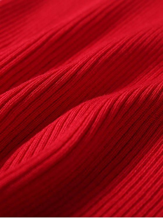 Sleeveless Ribbed Knit Bodycon Dress - RED ONE SIZE Mobile