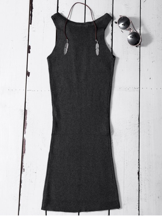 Sleeveless Ribbed Knit Bodycon Dress - DEEP GRAY ONE SIZE Mobile