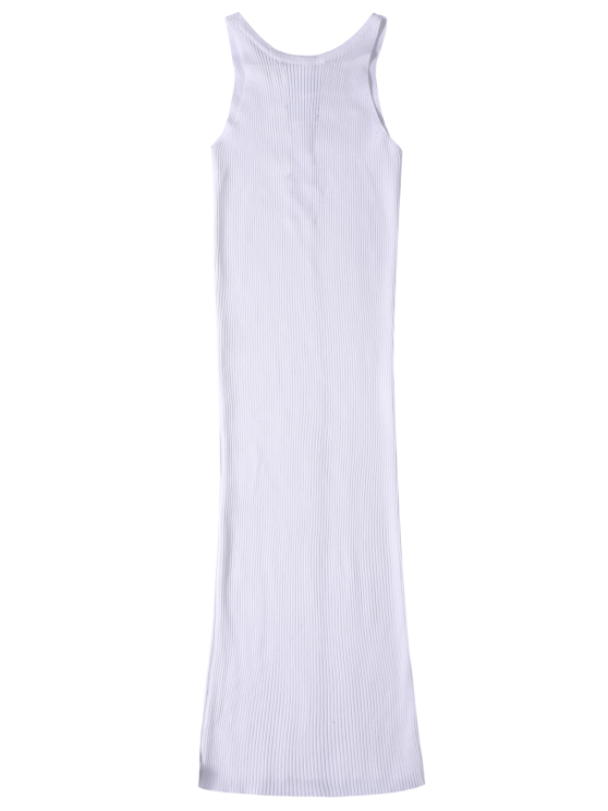 Sleeveless Ribbed Knit Bodycon Dress - WHITE ONE SIZE Mobile