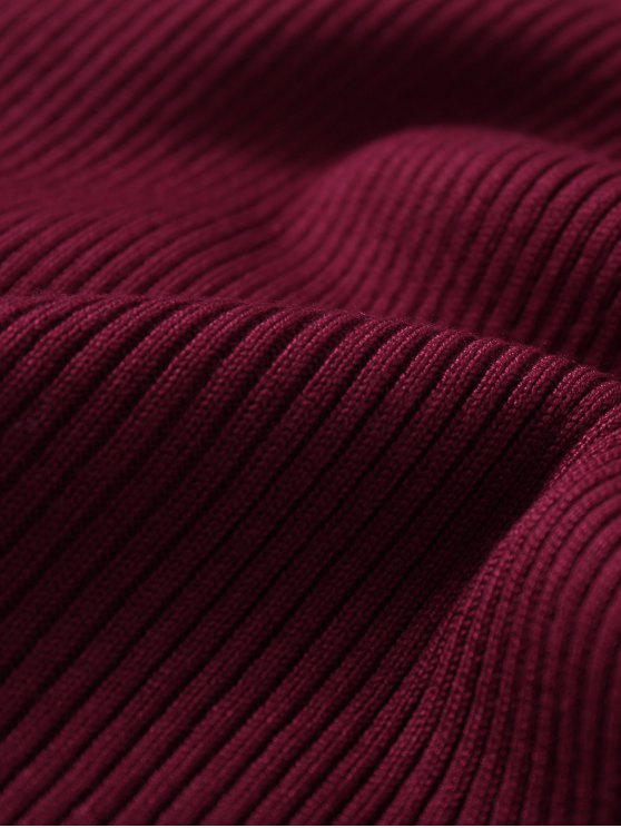 Sleeveless Ribbed Knit Bodycon Dress - WINE RED ONE SIZE Mobile