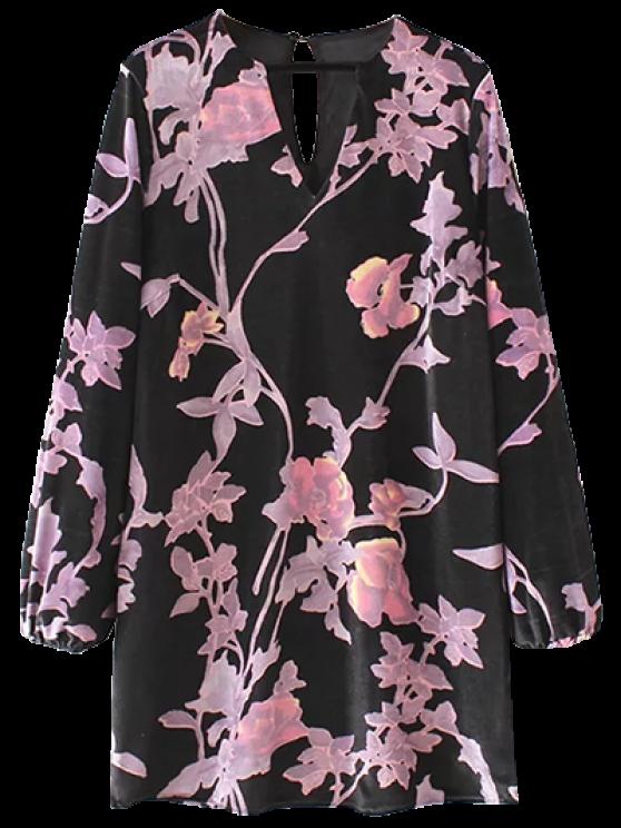 new Velvet Long Sleeve Floral Shift Dress - BLACK S
