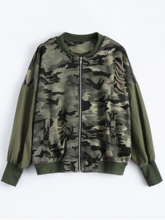 Distroyed Camo Bomber Jacket - ACU CAMOUFLAGE 3XL Mobile