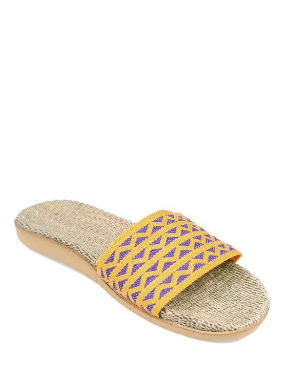 latest Geometric Pattern Linen Color Block House Slippers - YELLOW SIZE(37-38)