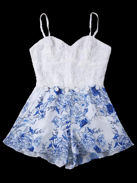 buy Printed Crochet Bodice Cami Romper - BLUE AND WHITE L