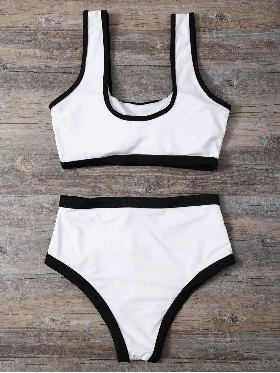 Contrasting Piped Lace Up Pullover Bikini - WHITE L Mobile