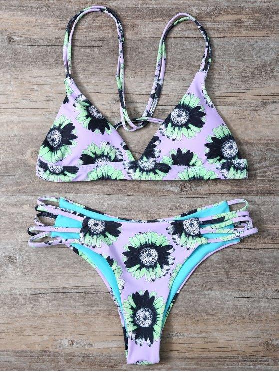outfits Sunflower Print Cami Bikini - LIGHT PURPLE M