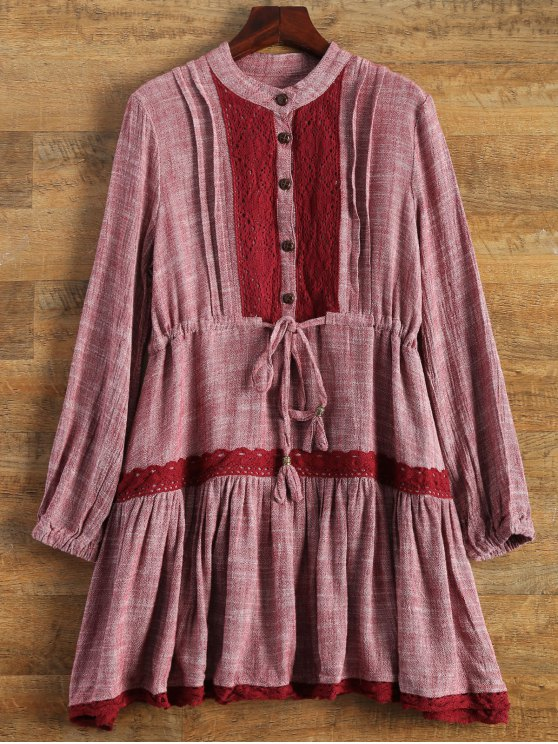 Long Sleeve Lace Bib Smock Dress - WINE RED L Mobile