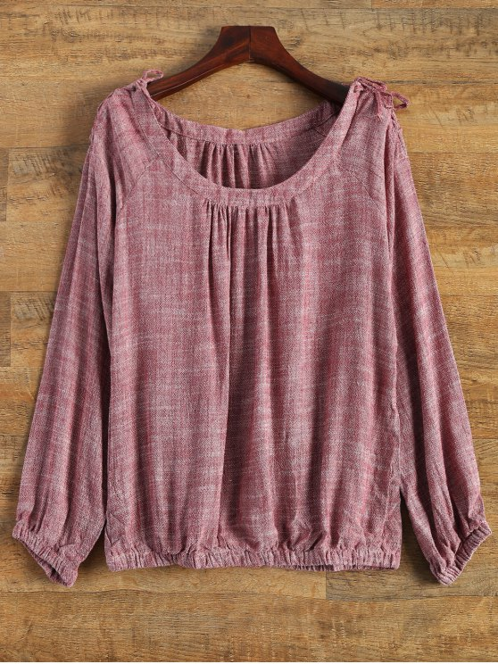 lady Linen Blouson Boho Top - RED M