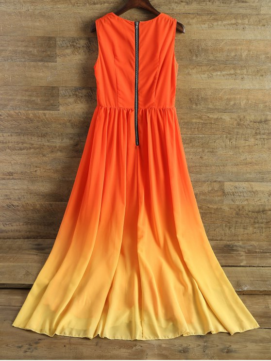 Plunging Neck Ombre Chiffon Dress - JACINTH M Mobile