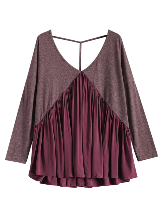 Oversized Low Back Plunge Swing Tee - WINE RED L Mobile