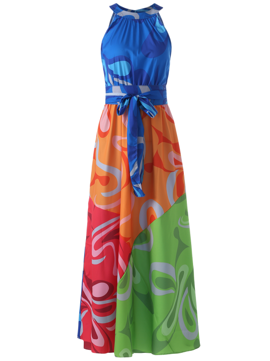 women Colored Maxi Halter Beach Dress - COLORMIX L