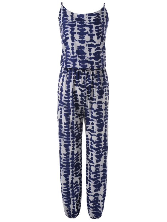 Cami Tie Dye Beach Jumpsuit - BLUE L Mobile