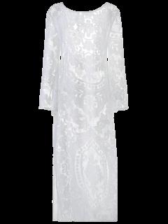 Flare Sleeve Sheer Lace Maxi Dress - White S