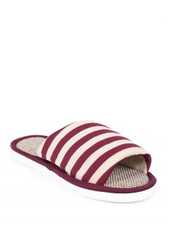 Stripes Linen Color Block House Slippers - Claret Size(40-41)