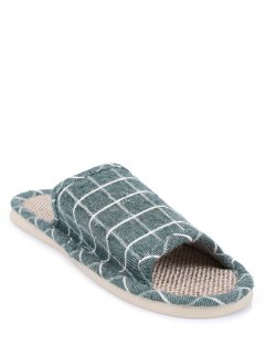 Linen Color Block Plaid House Slippers - Green Size(39-40)