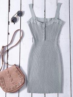 Wide Strap Bodycon Sweater Dress - Gray