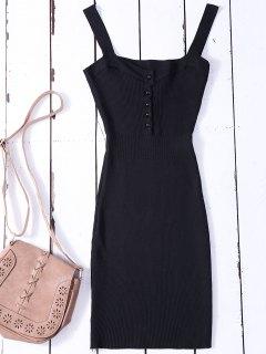 Wide Strap Bodycon Sweater Dress - Black