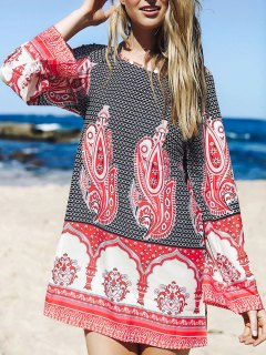 Flare Sleeve Printed Tunic Dress - L