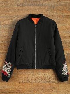 Lined Embroidered Bomber Jacket - Black S