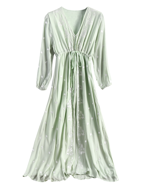 chic Midi Floral Embroidered Dress - SAGE GREEN S Mobile