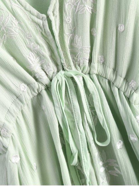 buy Midi Floral Embroidered Dress - SAGE GREEN L Mobile