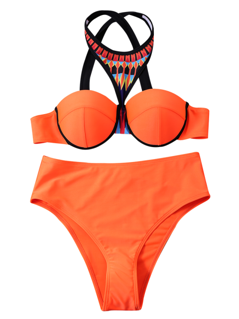 fashion Print Panel Push Up Bikini Set - JACINTH XL Mobile
