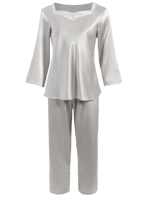 fancy Faux Silk Sweetheart Neck Pajama Suit - SILVER XL Mobile