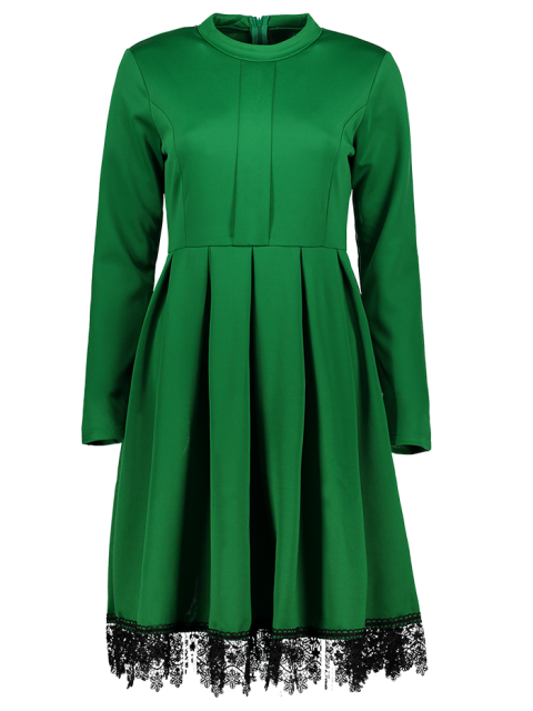 shop Lacework Stand Collar Flare Dress - GREEN S Mobile