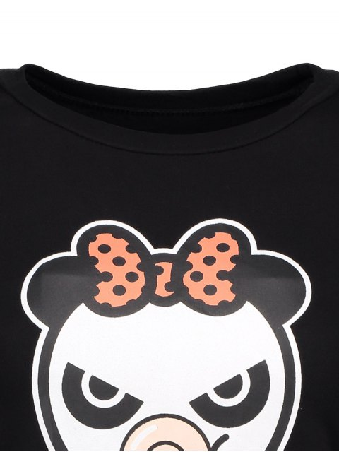 women's Cartoon Panda Pattern Tee - BLACK L Mobile