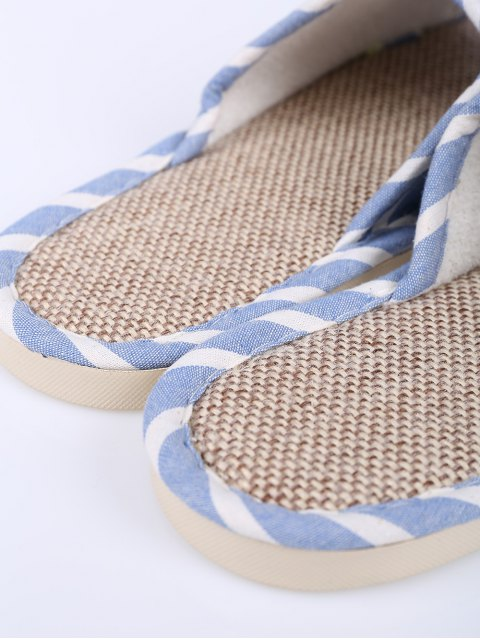 chic Linen Striped Cotton Fabric House Slippers - LIGHT BLUE SIZE(39-40) Mobile