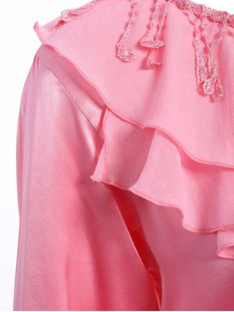 online Fringed Ruffle Pullover Faux Silk Loungewear - DEEP PINK XL Mobile