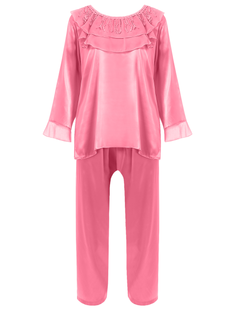 new Fringed Ruffle Pullover Faux Silk Loungewear - DEEP PINK L Mobile