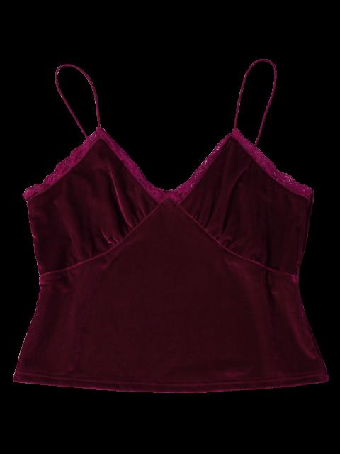 fancy Lace Trim Velvet Camisole Top - BURGUNDY XL Mobile