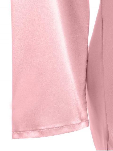 shops Faux Silk Sweetheart Neck Pajama Suit - PAPAYA L Mobile